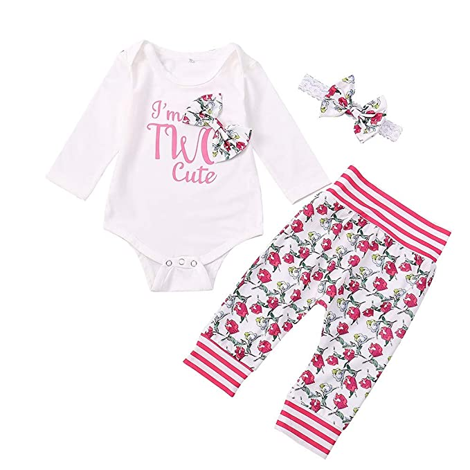 330f08b50 Kids Clothes Set, Girls Floral Romper Tops + Long Pants Headband Outfits (0-