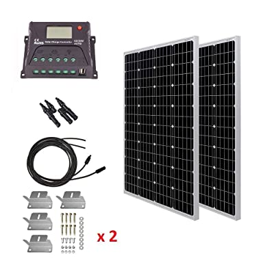 HQST 200 Watt 12 Volt Monocrystalline Solar Panel Kit with 20A PWM LCD Common Postive Solar Charge Controller, 20Ft 10AWG Solar Cable, Z-Brackets, Y Branch Connecter : Garden & Outdoor