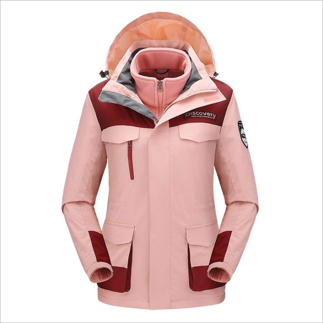 2 AUSWIEI Female Outdoor Jacket Threeinone Autumn and Winter Fashion Warm Mountaineering Suit Waterproof Breathable Slim Jacket (color   01, Size   L)