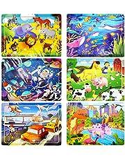 Puzzels voor kinderen van 3-8 jaar, 60 stuks kinderen houten puzzelspellen kleuterschoolse educatieve leren speelgoed set, 6 stuks houten legpuzzels Kerstmis verjaardagscadeaus voor jongens en meisjes