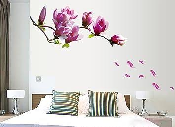 ufengke® fiori romantici adesivi murali, camera da letto soggiorno ... - Decorazioni Muro Camera Da Letto