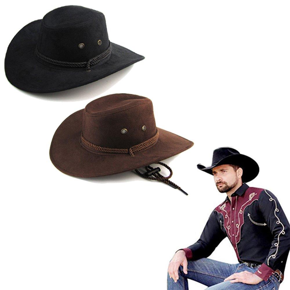 Letsfree Unisex Western Outback Cowboy Hat Men s Women s Style Faux Felt  Fedora hat (2Pack(Black+Brown)) at Amazon Men s Clothing store  9e39cc7cca1