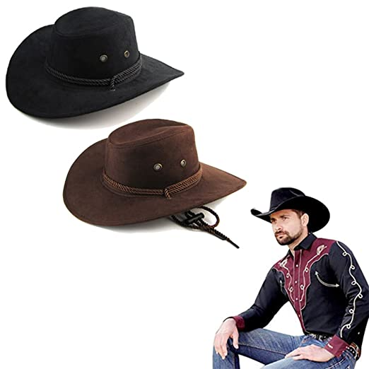 Letsfree Unisex Western Outback Cowboy Hat Men s Women s Style Faux Felt Fedora  hat (2Pack( 3980dfbed31
