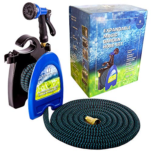 Expandable Garden Hose – Water Hose – Pocket Hose for Watering – Flexible Expandable Hose 50 ft – Set with Flex Expanding Garden Hose – Lightweight Hose Reel – Brass Fittings – 8 Function Spray Nozzle