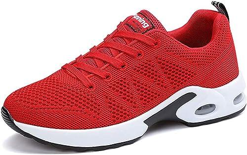 Zapatillas Deportivas de Mujer Air Cordones Zapatillas de Running Fitness Sneakers 4cm Negro Rojo Rosado Púrpura Blanco 34-44 EU: Amazon.es: Zapatos y complementos