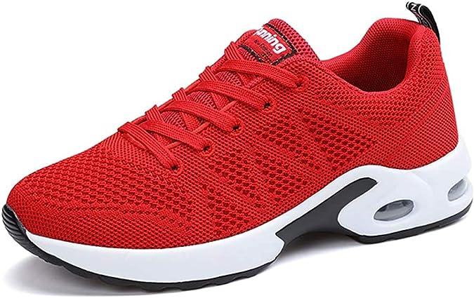 Zapatillas Deportivas de Mujer Air Cordones Zapatillas de Running Fitness Sneakers 4cm Negro Rojo Rosado Púrpura Blanco Red 39: Amazon.es: Zapatos y complementos