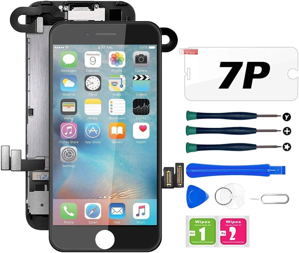 for iPhone 7 Plus Screen Replacement Black, LCD Display with 3D Touch Screen Digitizer Frame Assembly with Proximity Sensor+Earpiece+Front Camera+Screen Protector and Repair Tool (5.5'')