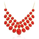 Jane Stone Fashion Necklace Red Bubble Beaded Necklace Bib Statement Necklace Bridesmaid Wedding Necklace (Fn0627-Red)