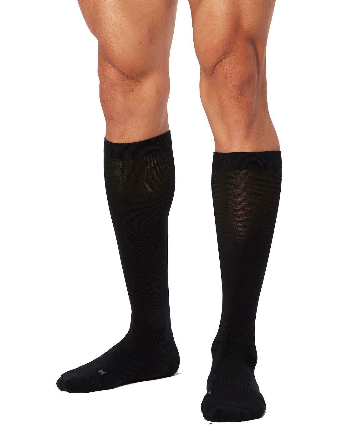 2XU Men's Performance Compression Run Sock, Black/Black, X-Small