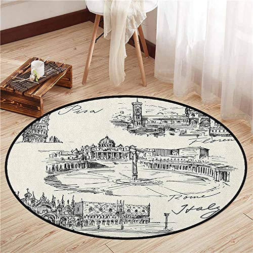 Pisa Coffee Table - Indoor/Outdoor Round Rugs,Sketchy,Travel The World Themed Historical Italian Landmarks Venice Rome Florence Pisa,Sofa Coffee Table Mat,4'3