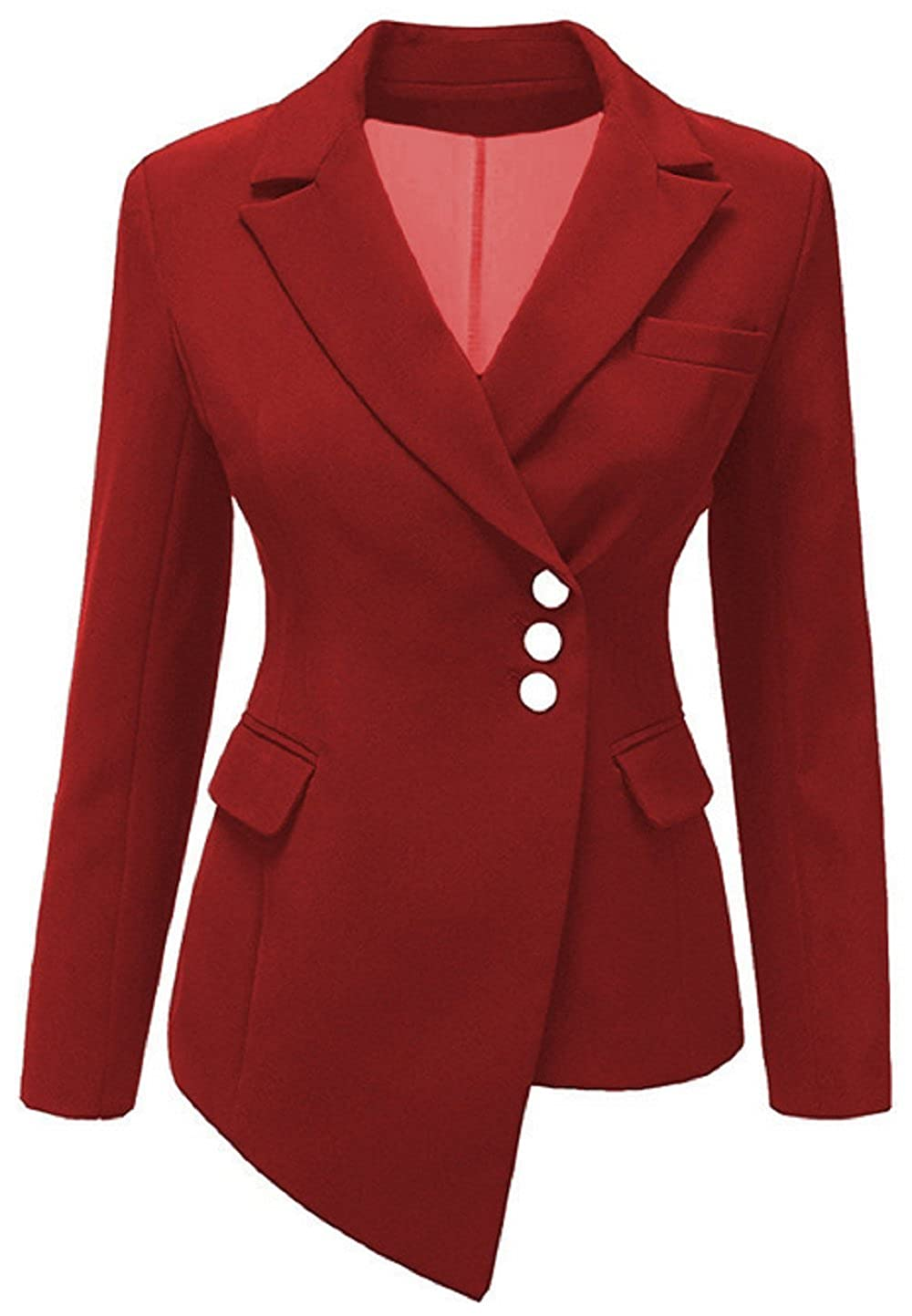 AGOGO 2018 Spring Autumn Ladies Womens Slim Fit Long Sleeve Tailored Plain Peplum Frill Crop Blazer Women's Slim Fit Jacket Casual Business Work Formal Evening Coat Top New