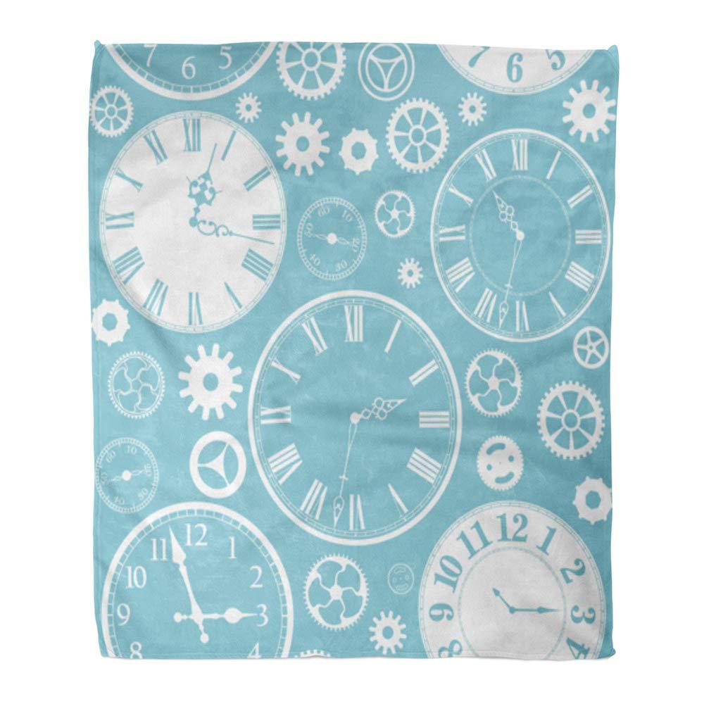 Emvency スローブランケット 暖かい 快適 プリント フランネル ネイビーパターン 幾何学模様 モロッコタイル ブルーとターコイズ アラビア 快適 ソフト ベッド ソファ カウチ 50x60インチ 60