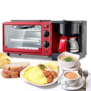 LXYIUN Desayuno eléctrico, máquina 3 en 1Multifunción freír Grill Pan Mini Horno café/Milk/Tea Maker para Pan Tostado café Haciendo Huevo freír en el hogar ...