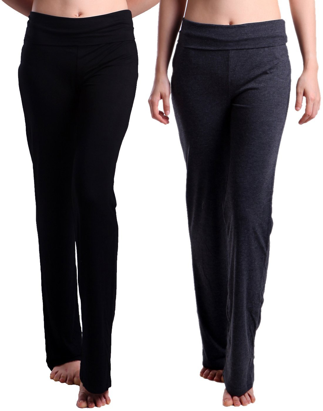 HDE 2-Pack Women's Maternity Yoga Stretch Pants Fit & Flare Foldover Pregnancy Leggings (Black& Charcoal Gray)
