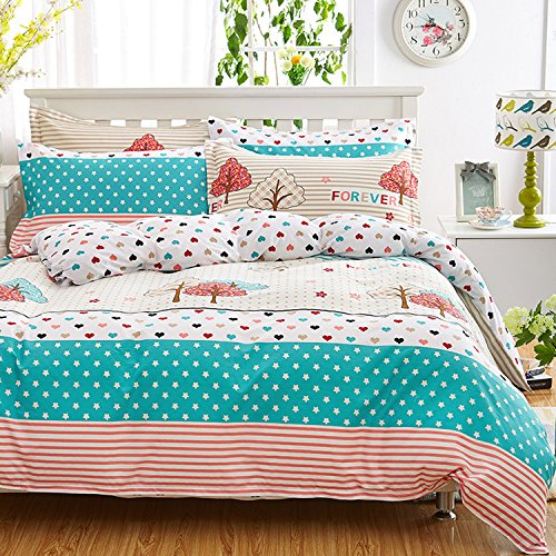 WarmGo Home Bedding Set for Kids Adult Tree Heart Star Print Duvet Cover Set 100% Cotton Full Queen Size 4 Piece - Not Include Comforter by WarmGo