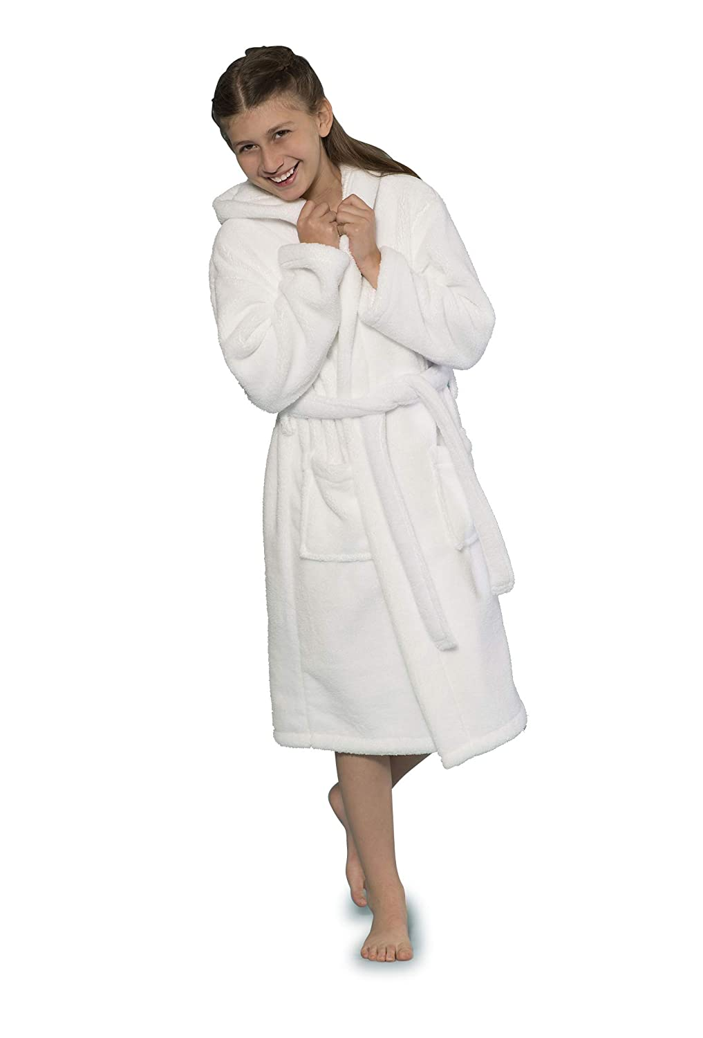 Boys and Girls Hooded Robe Plush Microfleece Bathrobe Soft Made in Turkey