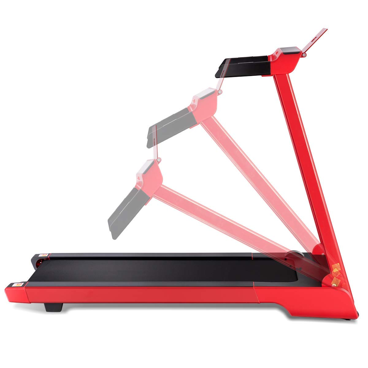 Goplus 2.25 HP Folding Treadmill Electric Cardio Fitness Jogging Running Machine Portable Motorized Power Slim Treadmill with Sports App and LED Display (Red) by Goplus (Image #6)