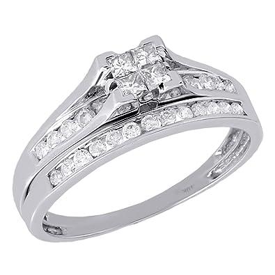 Amazoncom 10K White Gold Quad Princess Cut Diamond Engagement