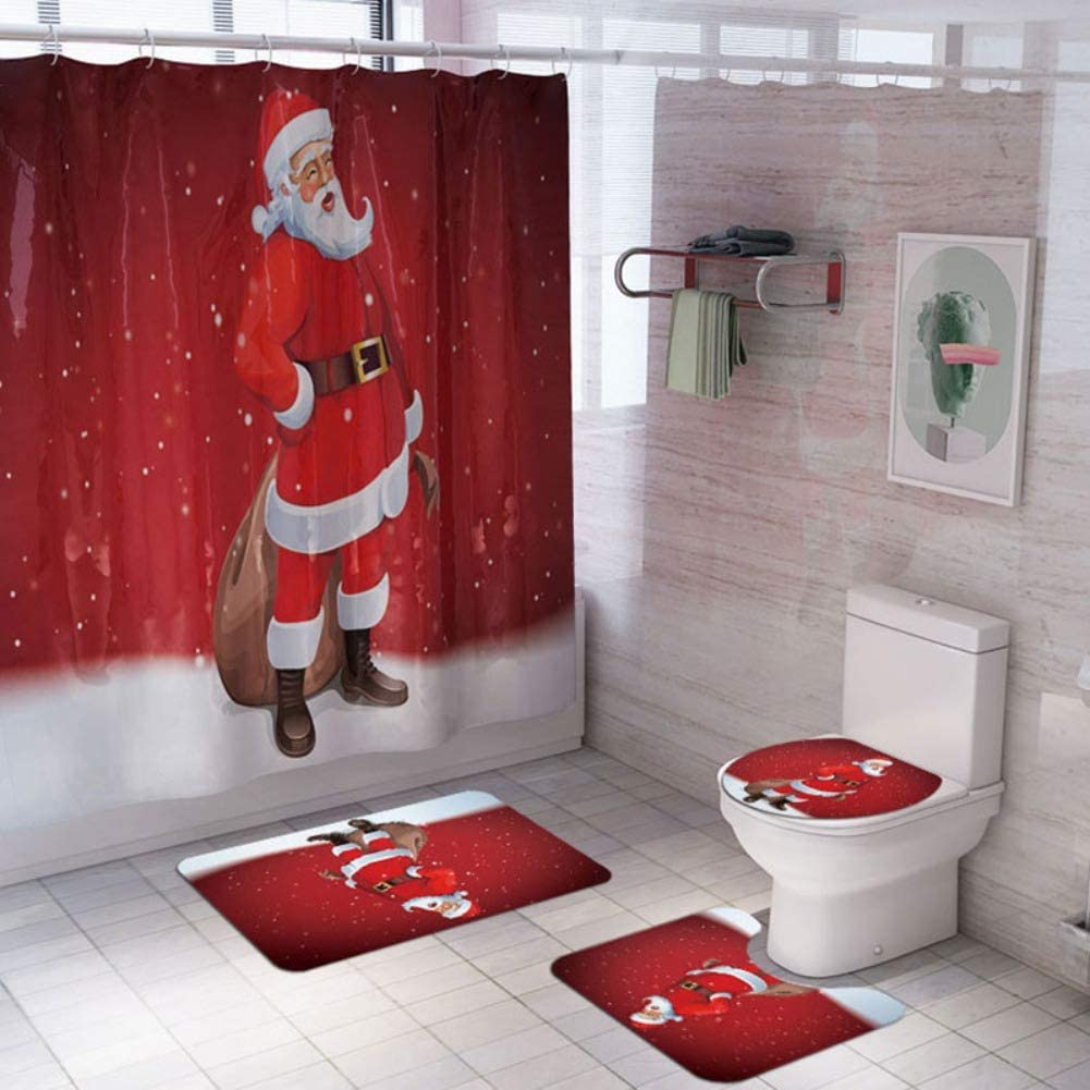 Lucoss 4 Pcs Christmas Shower Bathroom Accessory Set,- Shower Curtain with Hooks, Non-Slip Bath Rug, Toilet Lid Cover, Toilet Rug, Christmas Decorations Set for Bathroom (Red-Santa Claus)