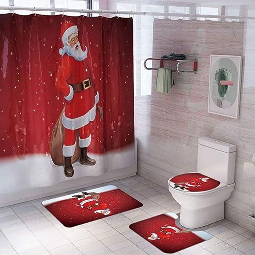 Amazon Com Artifun 4 Pcs Christmas Bathroom Decorations Set Toilet Seat Cover Rug Shower Curtain Sets Xmas Santa Claus Elk Snowman Bathroom Decor Home Kitchen