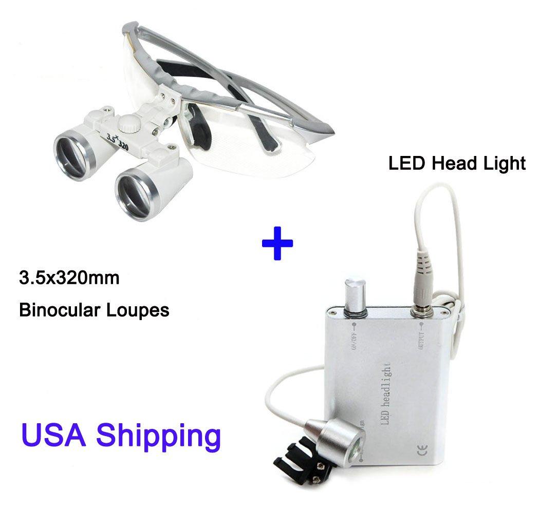 Zinnor 3.5 X 320mm Dental Surgical Medical Binocular Loupes Optical Glass Loupe + Portable LED Head Light Lamp - USA Shipping