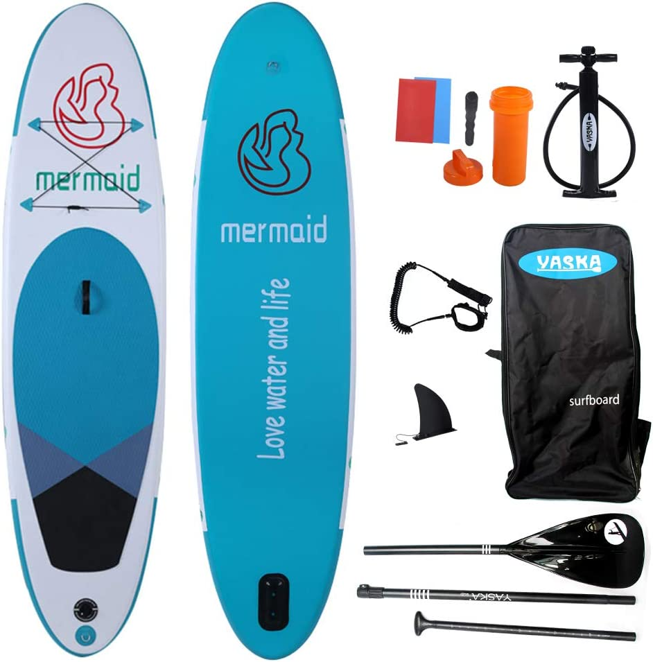 YASKA 10.6ft Allround Inflatable Stand Up Paddle Board, Non-Slip Deck(4 Inches Thick) with Adjustable Paddle,Fin, Leash, Hand Pump, Backpack and Repair Kit