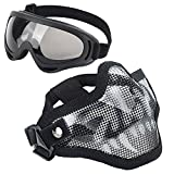 LAOSGE Airsoft mask,Mesh Half Face Skull Set with Goggles( 1 PACK BBs included,80 PCS)