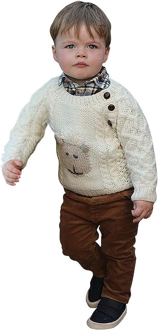Baby Shepley Handknit Merino Wool Aran Crew Sweater Made in Ireland