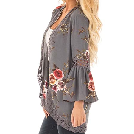 Amazon.com: Teresamoon Womens Floral Print Sheer Lace Loose Kimono Jacket Cardigan: Kitchen & Dining