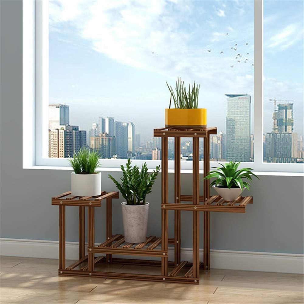 Wood Plant Stand Holder High Low Shelf Space Saving Flower Display Rack for Indoor Outdoor Garden Patio Balcony Living Room Bathroom Office,3Tier