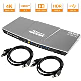 TESmart 4x1 HDMI KVM Switch HDMI 4K 3840x2160@60Hz 4:4:4 with 2 Pcs 5ft/1.5m KVM Cables Supports USB 2.0 Devices Control up to 4 Computers/Servers/DVR (Grey)