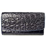 Genuine Crocodile Tail Leather Exotic Navy Blue Trifold Clutch Coin Zip Snap Wallet
