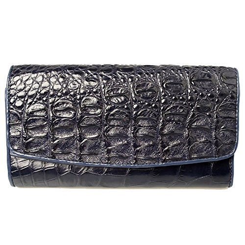 Genuine Crocodile Tail Leather Exotic Navy Blue Trifold Clutch Coin Zip Snap Wallet by Kanthima