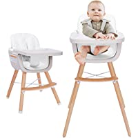 3-in-1 Baby High Chair with Adjustable Legs, Tray -White Color Dishwasher Safe, Wooden High Chair Made of Sleek Hardwood…