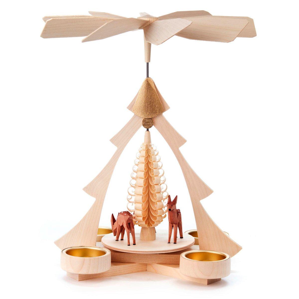 Christmas Tree and Deer German Pyramid - 10 Inches Tall - German Carousel