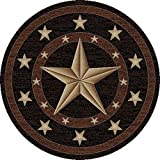 "Rustic Lodge, Texas Star Area Rug, 7'10"" Round, Black 3683 Review"