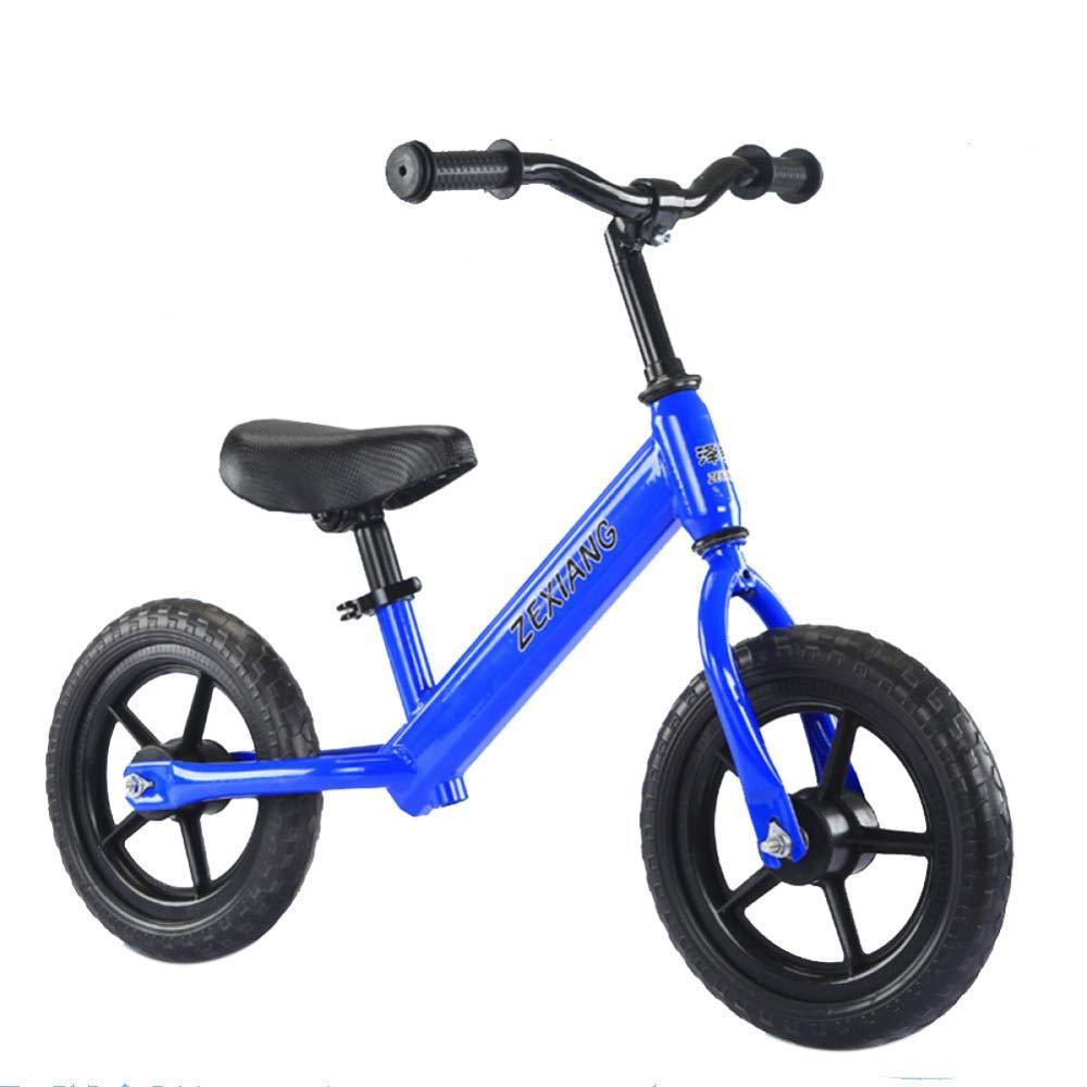 Balance Bicicleta para Niños Niños Pequeños Entrenamiento con Bicicletas para Niños De 2 A 6 Años Primera Bicicleta,Blue-EVAtire-12''