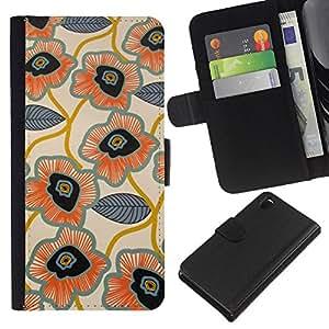 KLONGSHOP // Tirón de la caja Cartera de cuero con ranuras para tarjetas - Deja Dibujado Patrón Mano Flor Arte - Sony Xperia Z3 D6603 //