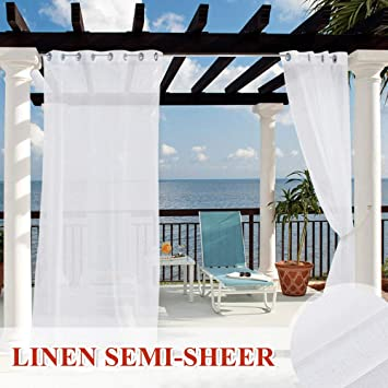 Bonus Ropes Included Wide 54 by Long 84 Outdoor Deck Linen Look Semitransparent Sheer RYB HOME Outdoor Sheer Curtains 2 Panels Waterproof Indoor Outdoor Drapes for Gazebo//Patio//Balcony