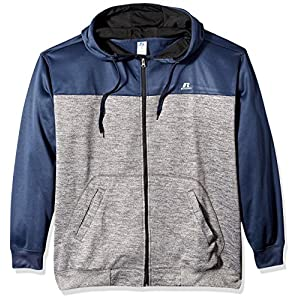 Russell Athletic Men's Big and Tall Full ZP Poly Fleece Hood With Contrast Yoke r LC, Navy Heather, 4X