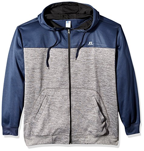 (Russell Athletic Men's Big and Tall Full Zp Poly Fleece Hood W/Contrast Yoke r Lc, Navy Heather,)