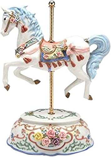 StealStreet SS-CG-80038, 15 Inch Single White and Blue Carousel Horse Ceramic Figurine
