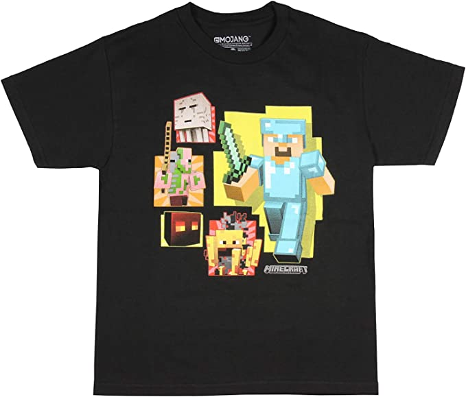 Minecraft Shirt Boys/' Diamond Steve Ghast Blaze Zombie Pigman T-Shirt