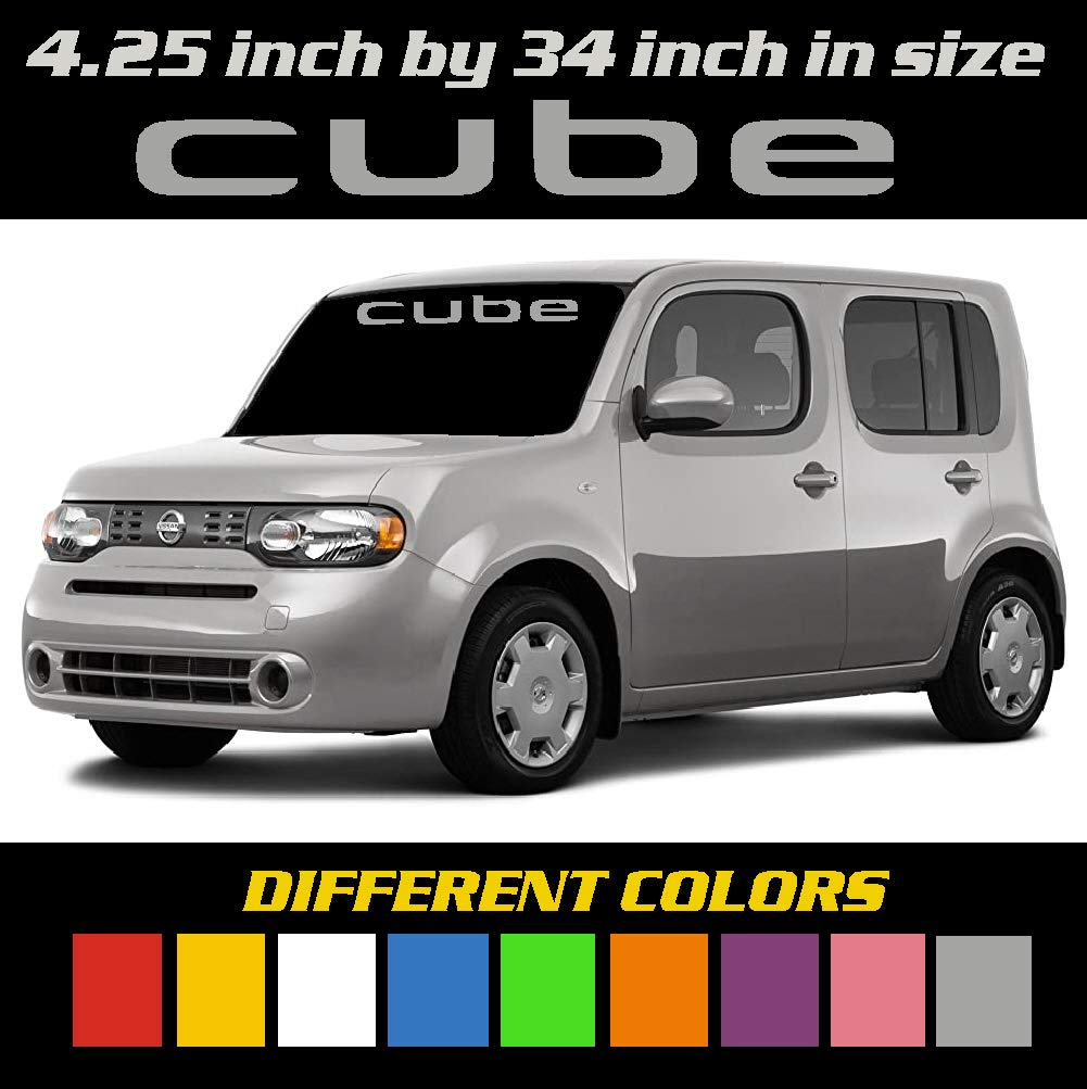Window Decal. 6 to 8 Year Outdoor Life Graphic Different Colors Nissan Cube Windshield Banner Decal 4.25 inch by 34 inch Sticker Emblem