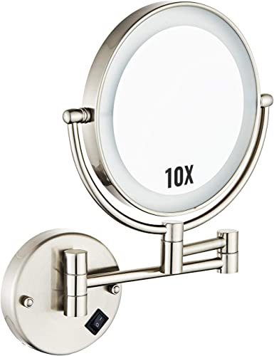 HALO 8 LED Mirror Double Sided Swivel,10X Mirror Magnification Wall Mount Vanity Mirror with 13.7 Extension,Touch Button,Adjustable Light Chrome