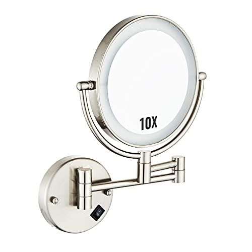 Halo Sanitary 8 LED Mirror Double Sided Swivel,10X Mirror Magnification Wall Mount Vanity mirror