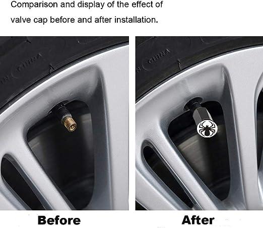 N//Y 4 Pieces Black Spider Chrome Plated Brass Tire Valve Stem Caps Dustproof Valve Covers for Auto Cars Tire Valve