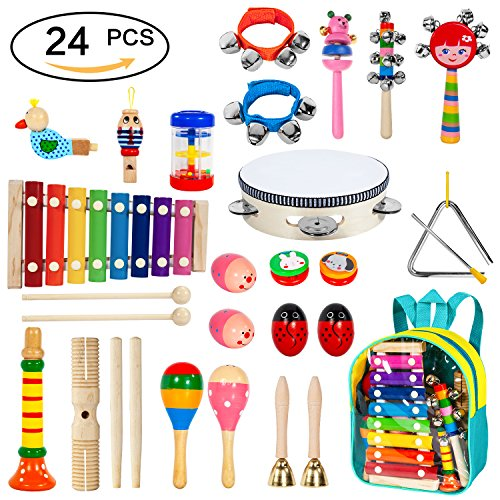 Toddler Musical Instruments 24pcs 17 Kinds of Wooden Percussion Instruments for Kids Preschool Education,Early Learning Musical Toys Set for Boys and Girls with Storage Backpack