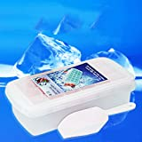 Saumota Large Rectangular Eighteen Ice Cube Tray Ice Chamber Ice Molds With ice scraper and Lid-Blue