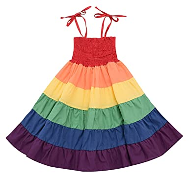 9a5bcd7381ee Little Girls Rainbow Dress Toddler Princess Sleeveless Halter Beach Tutu  Sundress, Kids Summer Twirl Dress